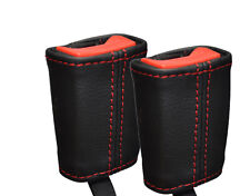RED  STITCH FITS AUDI A3 2004 -2011 2X FRONT SEAT BELT STALK LEATHER COVERS