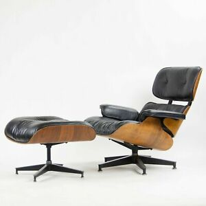 1960's Herman Miller Eames Lounge Chair and Ottoman Rosewood 670 671 Black