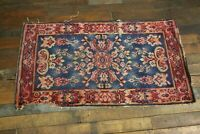 "Antique Tribal Rug or Mat 4ft X 27"" Old Estate Find Vintage living room bathroom"