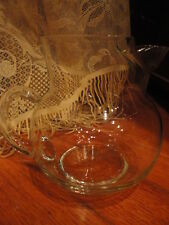 Clear Glass Pitcher Juice water 2 cup Ice Cube Spout Vintage