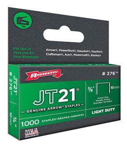 "Arrow 276 JT21 Staples 3/8"" 10mm, 1000 Pack, Fits Stanley TR45"