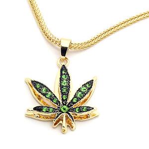 "14k Gold Plated Mini Marijuana Green CZ Stone Pendant 24"" Franco Chain Necklace"