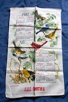 VINTAGE 1982 LINEN CALENDAR KITCHEN TOWEL BIRDS THE SMITHS CARDINAL FINCH