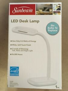 Sunbeam LED Desk Lamp w/Flexible Neck. Dimmable and Adjustable.