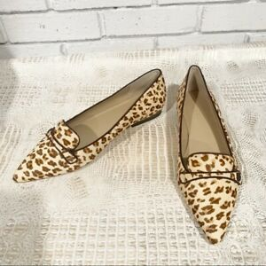 Ann Taylor January Leopard Print Haircalf Button Flats In River Pearl - Size 10