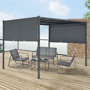 Pavillon Pergola Gartenzelt Terrassendach Sonnenschutz LED Solar 300x300cm Grau