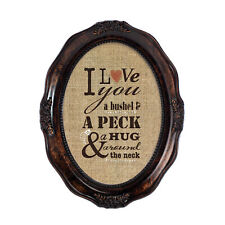 I Love You A Bushel & A Peck Amber Wavy 5x7 Oval Table Top and Wall Photo Frame