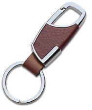 598- Chrome BROWN TAN Metal Leather Clasp Hook Key Chain Classy BMW Honda VW