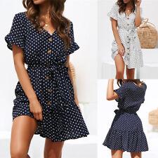 Womens Summer Boho Polka Dot V Neck Mini Dress Ladies Holiday Buttons Sundress