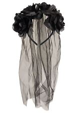 Goth Black Bride Headband Veil Flower Adult Ladies Halloween Fancy Dress Costume