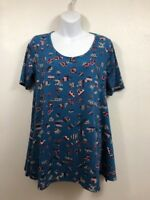 Lularoe Womens Printed Abstract on Teal Perfect T Top Shirt Tee XS