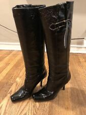 JIMMY CHOO BLACK PATENT LEATHER PULL ON SQUARE TOE KNEE HIGH BOOTS WOMEN'S 39
