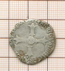 Huitième d'écu au marteau  Henri IV Nantes (pt 17è avers et revers)