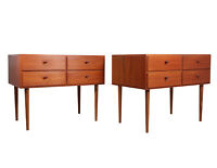 A Pair of Mid Century Danish Teak Chests, Vintage, Original, Antique