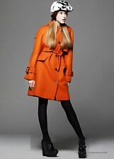 $3,995 Burberry Prorsum 10 12 44 Tangerine Wool Women Trench Coat Jacket Lady A