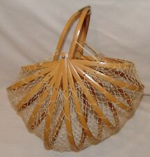 Vtg Woven Fishing Basket Purse Wood Mesh Folding Collapsible Bamboo Bag Net