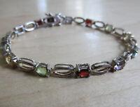 Vintage 90s Sterling Silver tennis bracelet multi stone Amethyst, Peridot, Citri