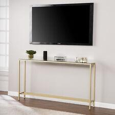 Derkkin Narrow Long Console Table w/ Mirrored Top, Gold