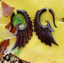 Organic Hand Carved Fake Gauges   Wood Earrings Natural  wing faux gauge