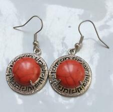 Natural Red Turkey Turquoise Gemstones Round Earring 21x21mm