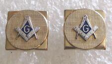 Vintage Mason Freemason Emblem Cuff Links Cufflinks-Masonic Gold Tone SWANK
