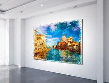 LEINWAND BILDER XXL Venedig Deko Wandbild MEER Fenster Entspannung Brücke
