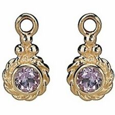 NEW! Authentic Pandora 14K Gold Amethyst Drop Earrings #250417AM w/Hindged Box