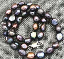 "7-8MM black Akoya Cultured Pearl Baroque Necklace 18"" AAA+"