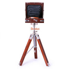 Artshai Antique Style Small Folding Camera With Wooden Tripod Stand Showpiece