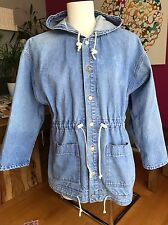 VTG Corniche Denim Jacket Unisex Mens Small or Women Med Long Hooded Blue Jean