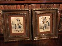 Pair Of Vintage Antique Hand Colored Prints Parcel Gilt Wooden Frames