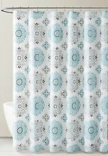 PEVA Shower Curtain Liner Odorless, PVC  Free Blue Gray White Medallion Design