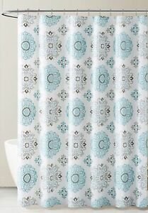 PEVA Shower Curtain Liner Odorless, PVC  Free Blue Gray White Medallion Design