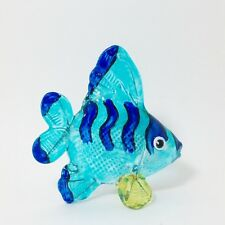 Animal Hand Blown Glass Painted Blue Sea Fish Figurine Handcrafted