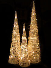 3 x Light Up Rattan Cone Tree Champagne Indoor Christmas Decoration Pre Lit
