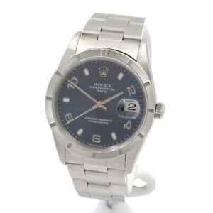ROLEX OYSTER PERPETUAL DATE STAINLESS STEEL BLUE DIAL 34MM WRIST WATCH #W1149-1