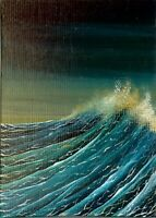 ACEO Original Acrylic Miniature Painting Seascape Waves Ocean Collectible HYMES
