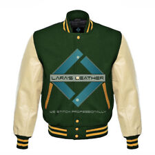 American College Letterman Varsity Green Wool Jacket/Real Leather Sleeves XS-4XL