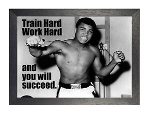 Muhammad Ali Train Hard Work Hard Boxing Motivation Quote Black & White Poster