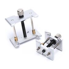 2x reloj estuche metal movimiento soporte relojero pinza reparación herramienta