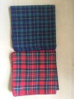 "Vintage Tartan Handkerchief X 2 Red Tartan And Green Tartan. Unused 17"" Square."