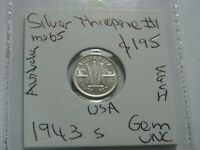 Australia 1943 S Threepence Silver GEM Choice Uncirculated  Nice Coin  CV$250