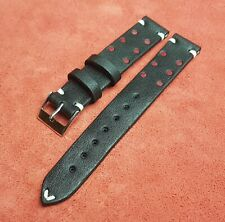 Vintage Handmade Watch Strap Band 22mm Genuine  Leather Black&Red from Bulgaria