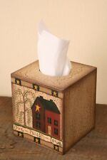 Primitive Country Live Laugh Love Saltbox House Square Tissue Box Cover