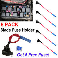 5Pcs Add-a-Circuit Fuse Tap-Micro Auto Mini Blade Piggy Back Fuse Holder 15A UK