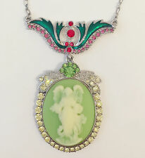 New Angel Vintage Style Cameo Olive Pink Floral Oval Charm Chain Necklace NE1193