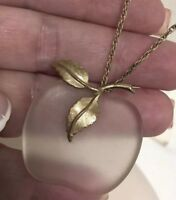 Signed Avon Vintage Glass Apple Pendant With Long Chain Necklace