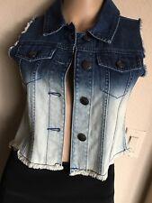 Vest THE CHILDREN'S PLACE 1989 Denim Jean light/dark BLUE Frayed Girl's XL / 14