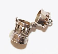 Vintage Opening Miners Davy Lamp  Sterling Silver Bracelet Charm (2.9g)