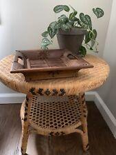 Vintage Boho Wood and Bamboo Basket Tray Catchall